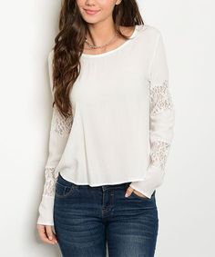 Another great find on #zulily! Ivory Lace-Panel Long-Sleeve Tee #zulilyfinds