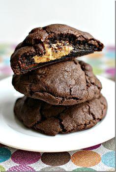DA's birthday Chocolate Peanut Butter Stuffed Cookies. #cookies #dessert #chocolate