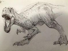 Prehistoric Dinosaurs, Jurassic World Dinosaurs, Jurassic Park World, Dinosaur Sketch, Dinosaur Drawing, Indominus Rex, Cross Hatching, Art Sketchbook, Fantasy Creatures