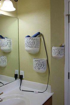 hair dryer, curling iron, flat iron holder ideas