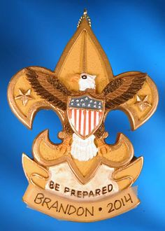 """Boy Scout Eagle Emblem ornament. Buy it now at www.ornamentswithlove.com for $13.99 Can be found in the """"kids"""", """"teens and tweens"""", and """"miscellaneous"""" categories."""