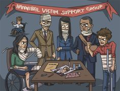 I love how Mason's just all the way in the back. //Hannibal Victim Support Group. #Fan art