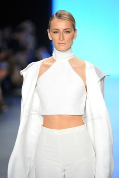 Didem Soydan walks the runway at the Nihan Peker show during MBFWI presented by American Express Fall/Winter 2014 on March 13, 2014 in Istan...