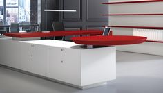 CEO white under desk cabinets Office Storage, Office Organization, Office Desk, Ceo Office, Office Interior Design, Office Interiors, Desk Cabinet, Circular Table, Office Furniture