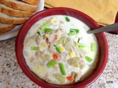 Bacon Chicken Corn Chowder, comfort food with vegetables, GreatPartyRecipes.com