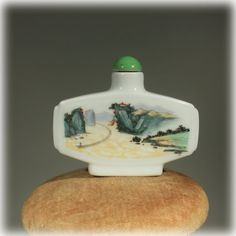 Hand Painted Mid Century Asian Ceramic Snuff Bottle.