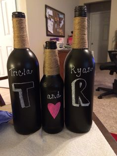 Chalk board paint wine bottle craft