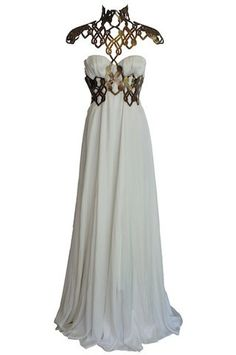 Silk gown with lasercut leather chest. Design: Emma Griffiths. Reminds me of GoT