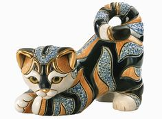 Short Hair Cat Ceramic Figurines Hand Carved by Derosa with Gold Trim - Animals