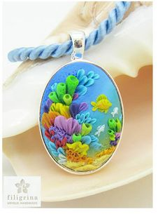 I love the bright color and texture of our fishy themed piece this week! This one is by Katrina of the Etsy shop Filigrina. It's nice seeing polymer embroidery employed without flowers, opening up it's versatility. Check out more on this and our Inspi Polymer Clay Kunst, Polymer Clay Pendant, Fimo Clay, Polymer Clay Charms, Polymer Clay Projects, Polymer Clay Creations, Clay Crafts, Polymer Clay Jewelry, Crea Fimo