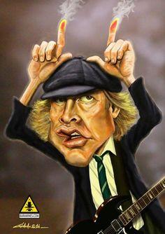 Bildergebnis für caricaturen van the muziekgroepen Funny Caricatures, Celebrity Caricatures, Celebrity Drawings, Angus Young, Caricature Artist, Caricature Drawing, Drawing Art, Famous Toons, Heavy Metal