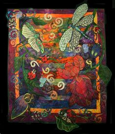 Art quilt by Ellen Anne Eddy--Look at those dragonfly wings! I'm usually not a fan of quilts.but this really isn't a quilt, it's ART! Patchwork Quilting, Crazy Quilting, Applique Quilts, Art Quilting, Crazy Patchwork, Quilt Art, Dragonfly Art, Animal Quilts, Landscape Quilts