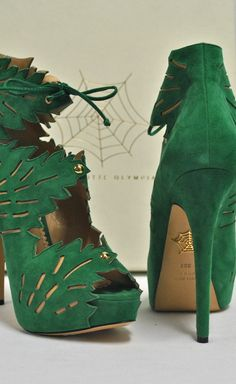 "Charlotte Olympia Green Suede ""Eve"" Booties 