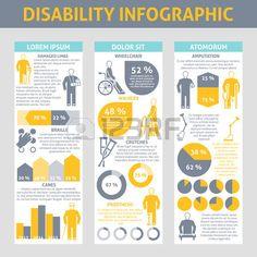 discapacidad: Las personas con discapacidades Infografía conjunto con muletas y prótesis braille símbolos ilustración vectorial plana