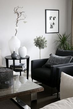 http://anettewillemine.com/ Living room in grey, black and white.