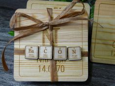 Gift for BACON lovers, Breaking Bad Fans & Science geeks. Laser Engraved Wood Coasters. Scrabble Style Tiles from Periodic Table of Elements by YourStorybookWedding
