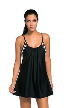 The Flowing Swim Dress Layered Tankini Top is designed with unique two-in-one style. This modest tankini is designed in a flattering silhouette, features a built-in shelf bra with removable padding, and non-underwire design for comfortable fit. Tankini Top, Bikini Tops, Swim Cover Up Dress, Swim Dress, Bikini Dress, Dress Beach, Sexy Bikini, T Shirts, Beach Outfits