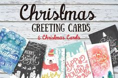 6 Christmas greeting cards set