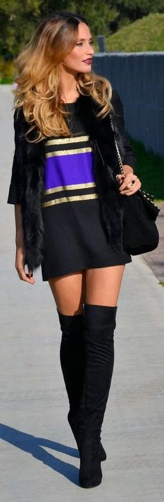 Thigh high boots and sweater dress for Fall 2013