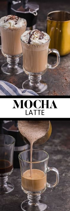 Mocha Latte - Skip the coffee shop and make this hot winter drink at home. With the flavors of coffee and chocolate, this simple homemade beverage is exactly what you need on a cold day!