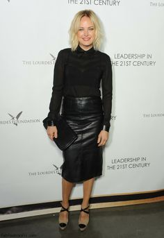 Malin Akerman in Wes Gordon blouse and TopShop leather pencil skirt
