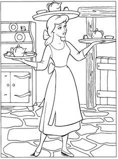 Cinderella color page, disney coloring pages, color plate