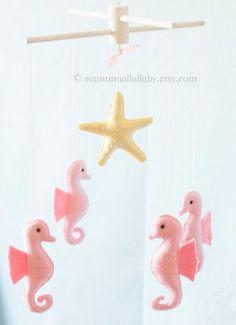 Pink Seahorse Starfish Baby Mobile, Baby Girl Nursery Decor, Baby Girl Mobile, Pink Nursery, Ocean M Seahorse Nursery, Ocean Nursery, Yellow Nursery, Baby Room Storage, Nursery Closet Organization, Baby Girl Nursery Decor, Baby Boy Nurseries, Baby Decor, Baptism Party Decorations