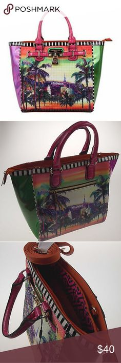 """BRAND NEW NICOLE LEE HOLLYWOOD TOTE BAG Bonus: Pink Nicole Lee Tote Bag (21"""" x 21"""" x 3"""") Hollywood print shows Hollywood, California scenery with Palm Trees  Handbag (HOL10428): Handbag measures 17"""" long x 12"""" tall x 6 1/2"""" deep, not including handles Handles have a 5"""" drop  Outside:  Nicole Lee Hollywoodprint (front & back)Rhinestone Bedazzled on FrontGlossy Faux Leather DetailsFront Belt Embellishment with LocketDual Top Faux Leather HandlesMetal Zipper Closure with NL Monogrammed Zipper…"""