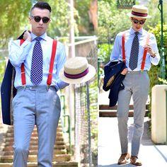 Zara Boater Hat, Topman Suspenders, Dappertime Watch