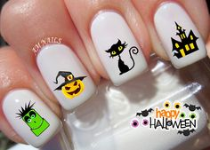 42 Halloween Nail Decals by AMnails on Etsy https://www.etsy.com/listing/245179519/42-halloween-nail-decals