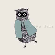 dancing owl with cloak and mask art print by olivedear on Etsy, $15.00