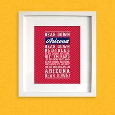 "Arizona ""Bear Down"" Fight Song Print - University of Arizona Wildcats Typographic Art Poster on Etsy, $7.95"