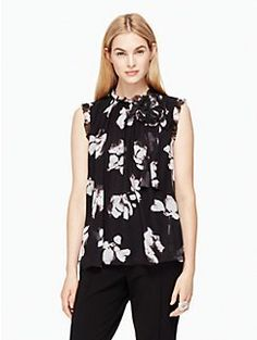 Kate Spade New York Abstract Print Short Sleeve Top Buy Cheap Amazon Discount Best Place Recommend Online Under 50 Dollars Amazon Cheap Online K8pmBGrzXq