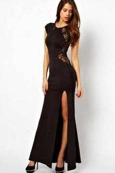 Black Sleeveless Back Lace Split Dress