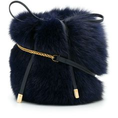 Mr & Mrs Italy fox fur shoulder bag ($1,320) ❤ liked on Polyvore featuring bags, handbags, shoulder bags, blue, chain shoulder bag, coin pouch, blue shoulder bag, vintage style purses and vintage style handbags
