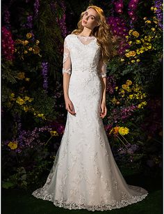 Lanting Trumpet/Mermaid Wedding Dress - Ivory Court Train Bateau Lace / Tulle 2016 - $237.49