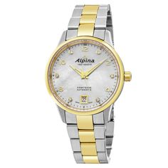 Alpina Women's AL-525APWD3C3B 'Comtesse' Diamond Dial Two Tone Swiss Automatic Watch