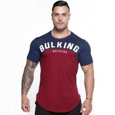 New Mens Summer Gyms Fitness Workout T-shirt Short sleeve Cotton Slim t shirt Male Casual Fashion Patchwork Tees Tops Clothing Running Shirts, Workout Shirts, Bodybuilding T Shirts, Mens Cotton Shorts, Moda Casual, Plus Size Men, Denim Jeans Men, Mens Tee Shirts, Sports Shirts