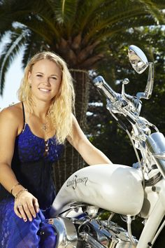 Caroline Wozniacki with her custombike hand build by Lauge Jensen motorcycles