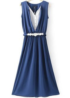 Blue V Neck Sleeveless Slim Pleated Dress - abaday.com