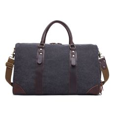 Canvas duffle travel bag with crazy horse leather trim and a shoe compartment. Water-resistant, spacious and functional. Dimensions: x x Leather Products, Weekends Away, Crazy Horse, Army Green, Travel Bags, Dark Grey, Leather Bag, Hiking Boots, Shoe