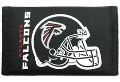 This officially licensed durable nylon wallet features vibrant team colors and logos. It has a compartment for money, 3 sewn in pockets and a plastic photo/cred Atlanta Falcons Team, Falcons Football, Velcro Wallet, Hook And Loop Fastener, Nfl Fans, Surf Style, Sports Fan Shop, Fan Gear, Buick Logo