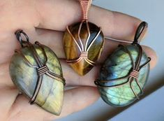 3 Minimalist Wire Wrapped Cabochon Pendant Tutorials by OxanaCrafts