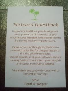 Postcard Guestbook. I have never seen this before... I just had the idea to make this a part of your RSVP set! -A