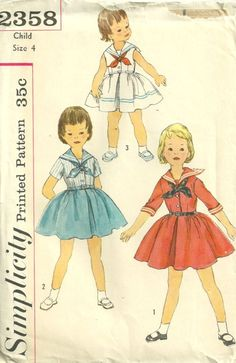 Simplicity 2358 Vintage 50s Girls Sailor Dress and Tie Pattern Size 4 Breast 23  Uncut. $10.00, via Etsy.