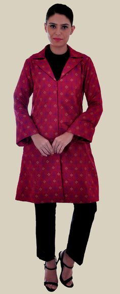 Red Shot Maroon Handwoven Banarasi Pure Brocade Silk Jacket Suit