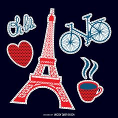 Set of patches featuring hearts, the Eiffel Tower, coffee, a bicycle and more…