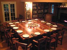 Definitely Not This Style But Love The Idea Of A Huge Square Dining Table  So Everyone