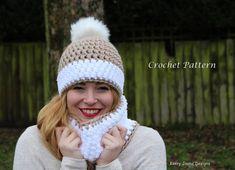 CROCHET HAT and Cowl pattern Snow bobble por KerryJayneDesigns