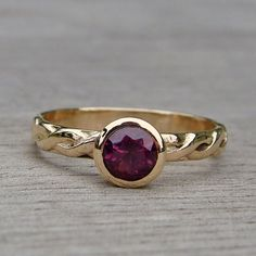 Fair Trade Burgundy/Purple Sapphire and Recycled 14k Yellow Gold Ring by McFarland Designs